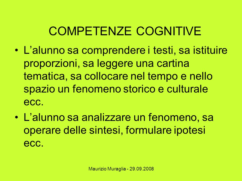 COMPETENZE COGNITIVE
