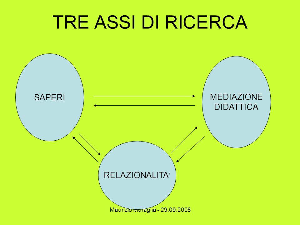 TRE ASSI DI RICERCA SAPERI MEDIAZIONE DIDATTICA RELAZIONALITA'