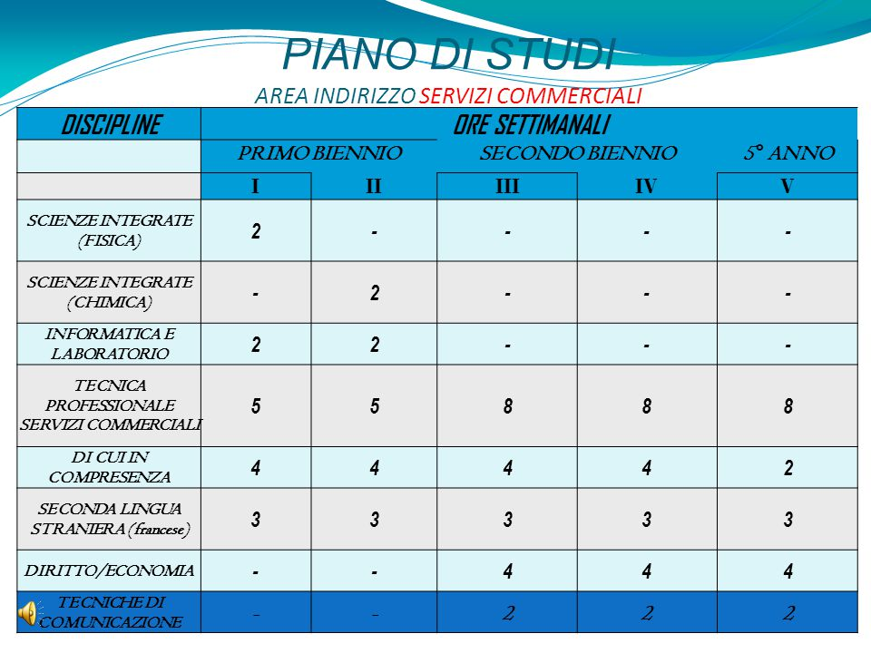 PIANO DI STUDI AREA INDIRIZZO SERVIZI COMMERCIALI