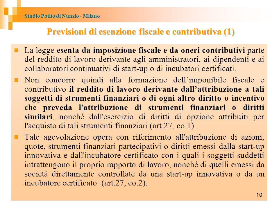Previsioni di esenzione fiscale e contributiva (1)