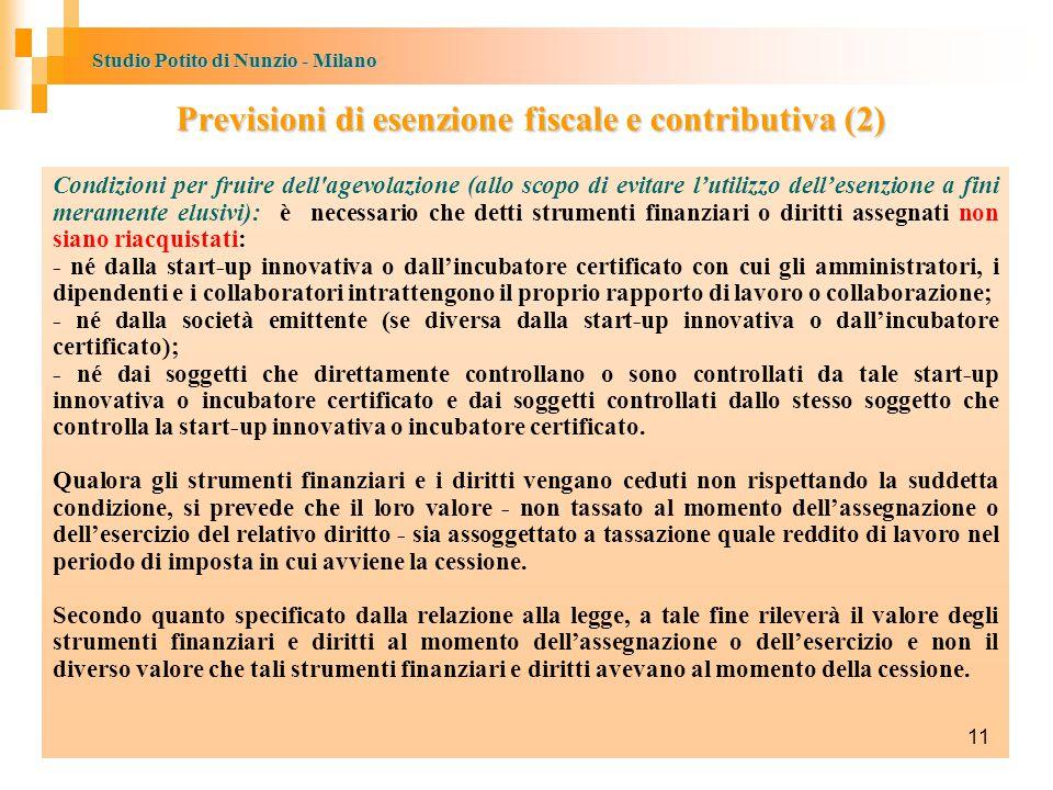 Previsioni di esenzione fiscale e contributiva (2)