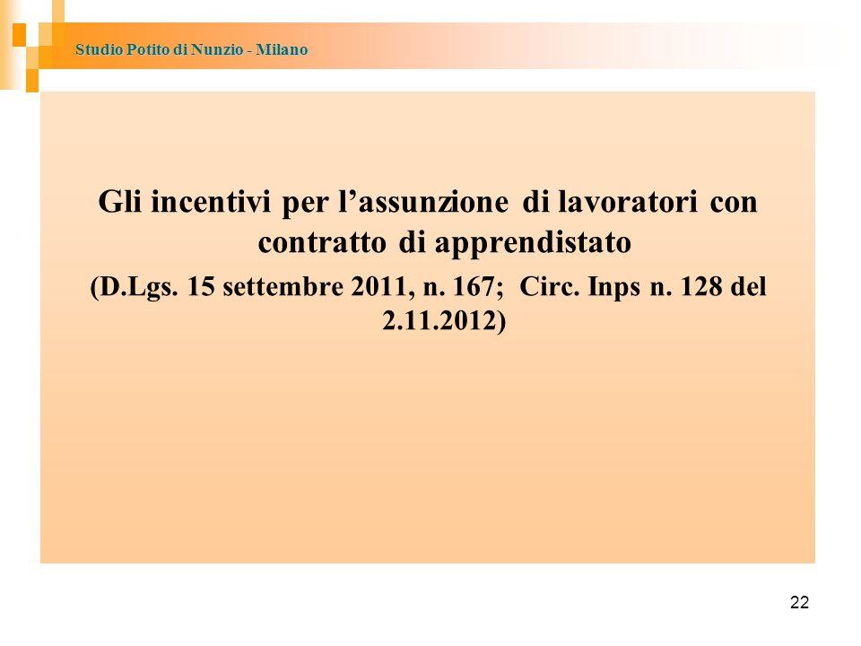 (D.Lgs. 15 settembre 2011, n. 167; Circ. Inps n. 128 del 2.11.2012)