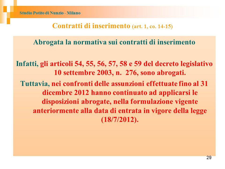 Contratti di inserimento (art. 1, co. 14-15)