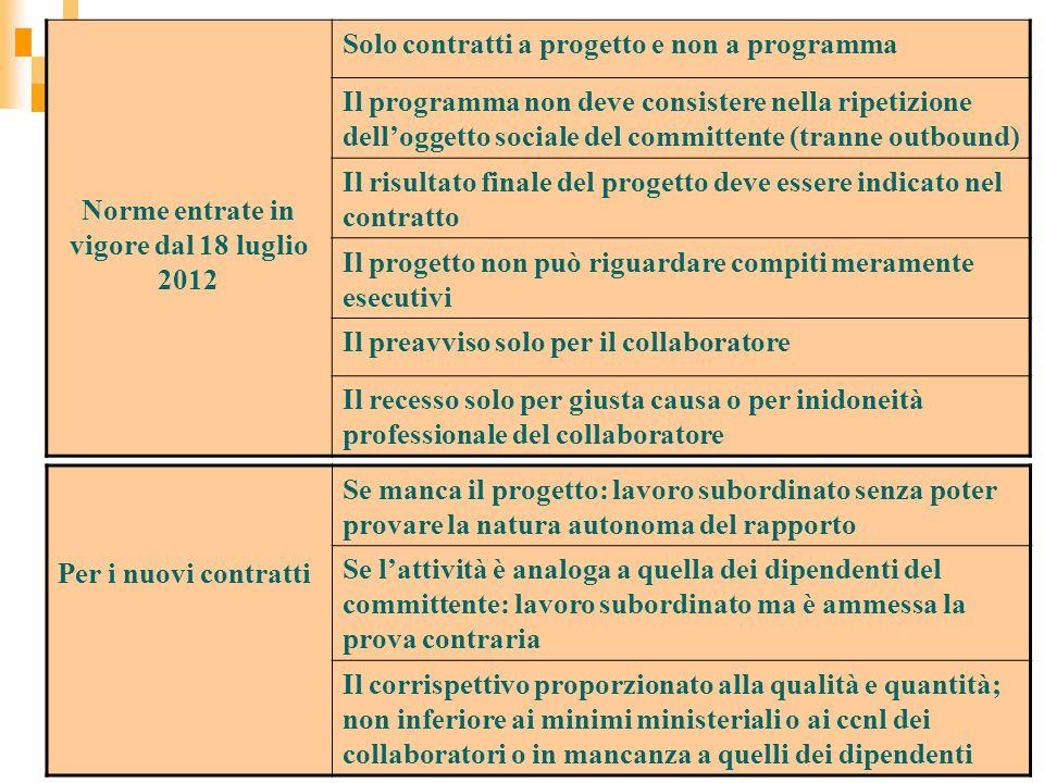 Norme entrate in vigore dal 18 luglio 2012