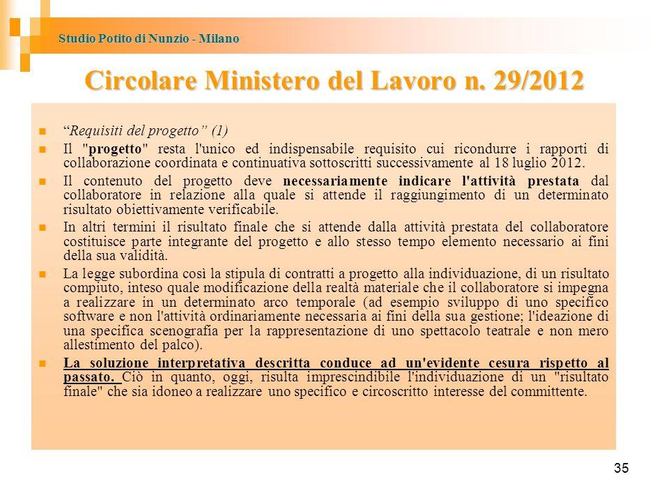 Circolare Ministero del Lavoro n. 29/2012