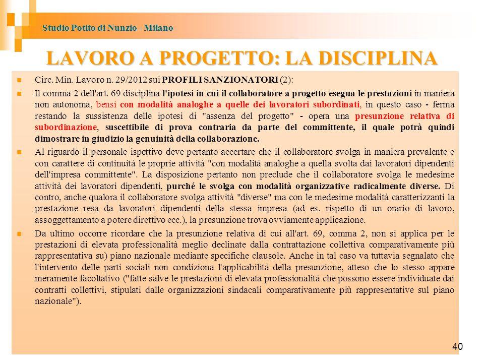 LAVORO A PROGETTO: LA DISCIPLINA