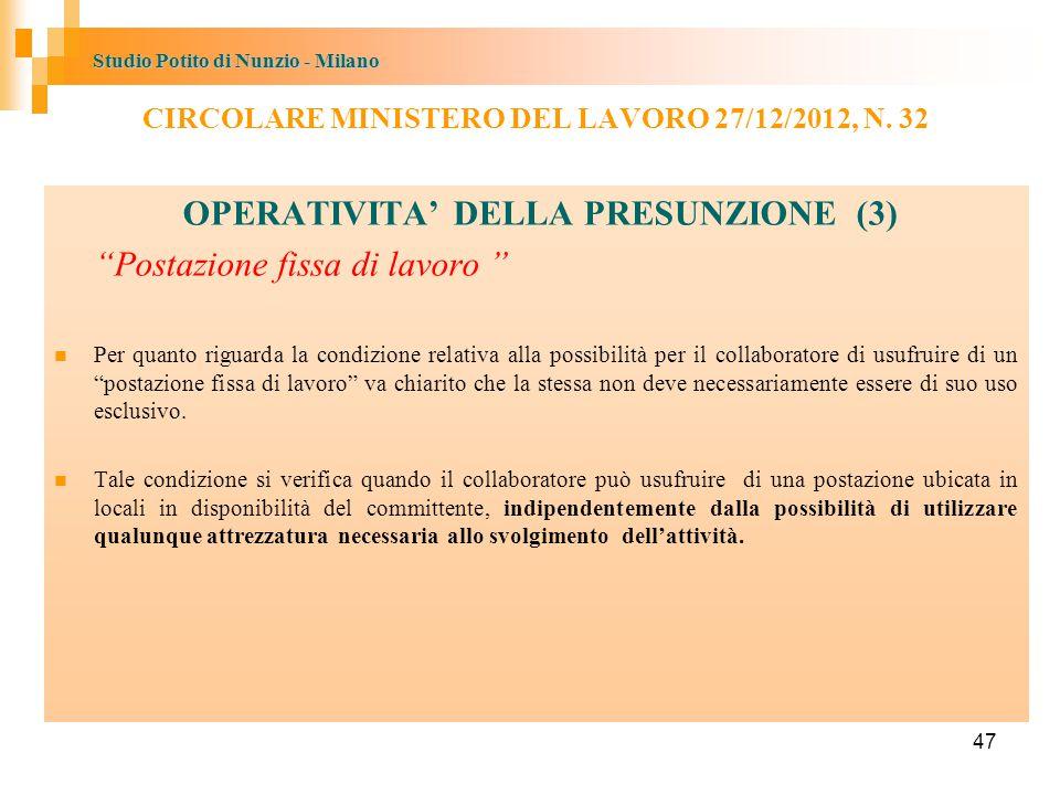 OPERATIVITA' DELLA PRESUNZIONE (3)