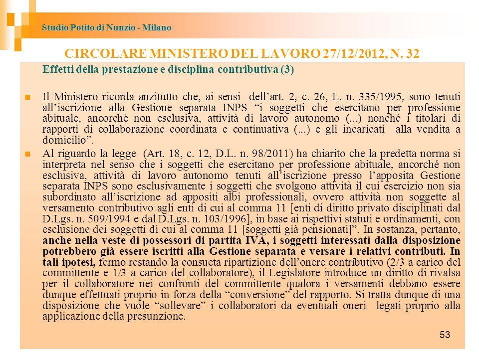 CIRCOLARE MINISTERO DEL LAVORO 27/12/2012, N. 32