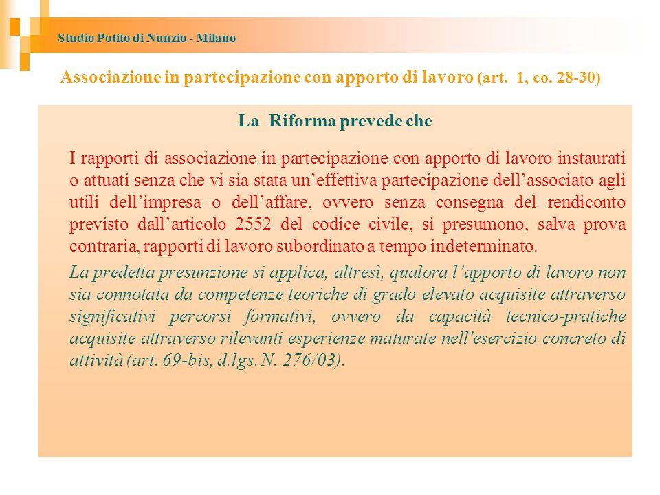 Associazione in partecipazione con apporto di lavoro (art. 1, co