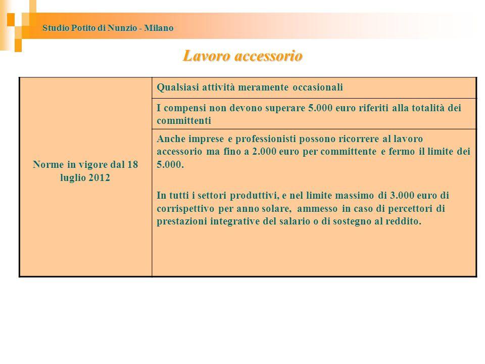 Norme in vigore dal 18 luglio 2012