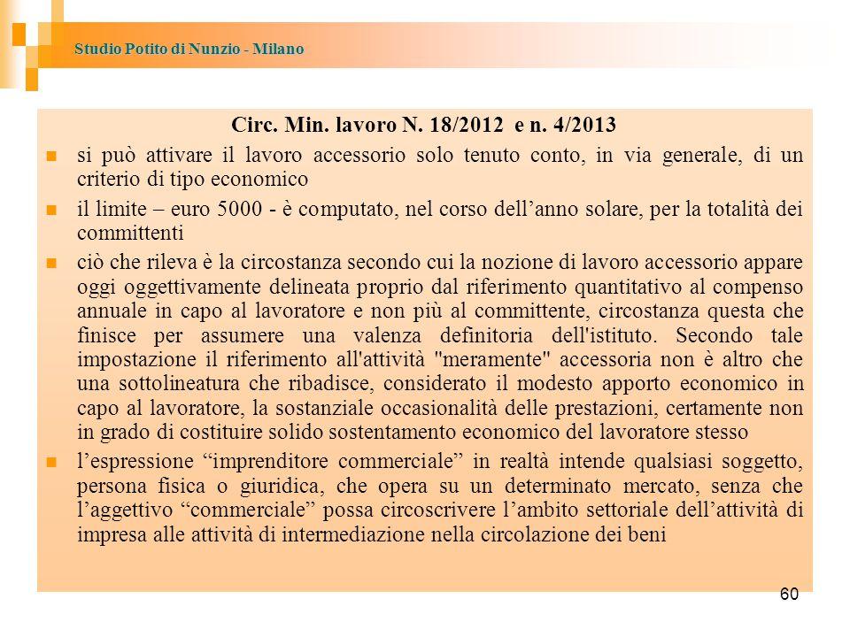 Circ. Min. lavoro N. 18/2012 e n. 4/2013 si può attivare il lavoro accessorio solo tenuto conto, in via generale, di un criterio di tipo economico.