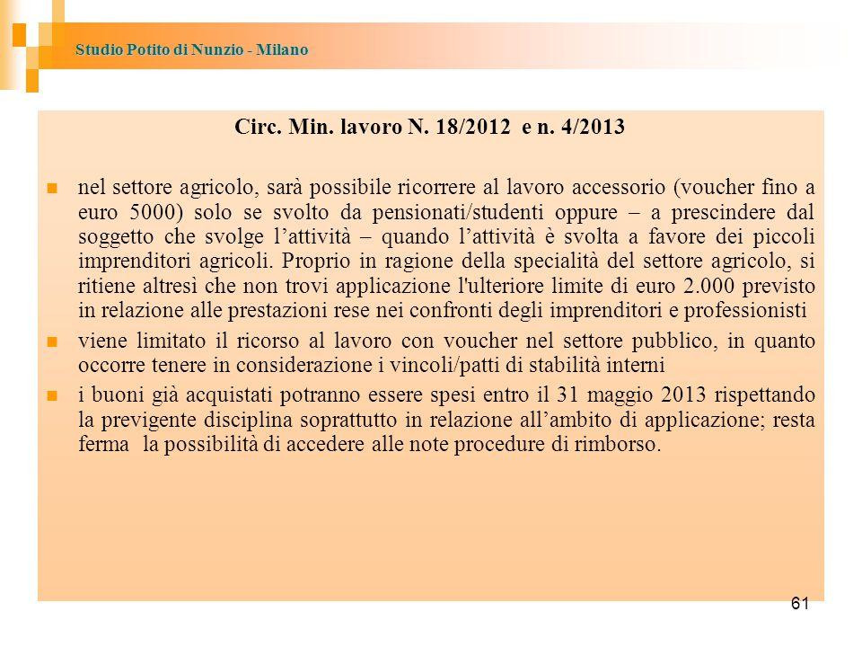 Circ. Min. lavoro N. 18/2012 e n. 4/2013