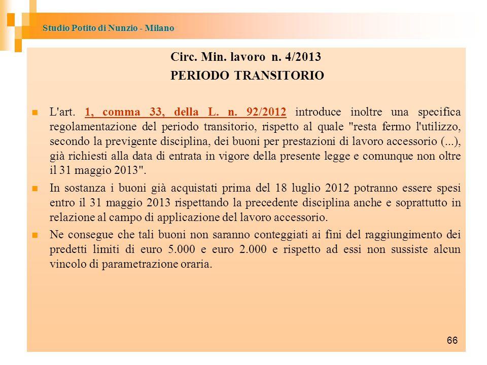 Circ. Min. lavoro n. 4/2013 PERIODO TRANSITORIO