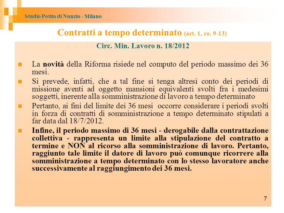 Contratti a tempo determinato (art. 1, co. 9-13)