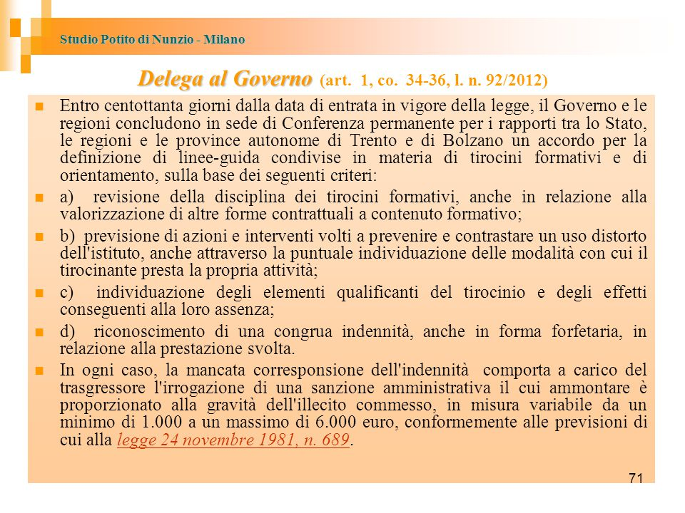 Delega al Governo (art. 1, co. 34-36, l. n. 92/2012)