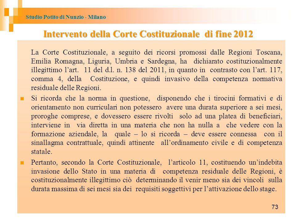Intervento della Corte Costituzionale di fine 2012