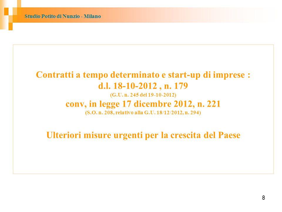 Contratti a tempo determinato e start-up di imprese : d. l
