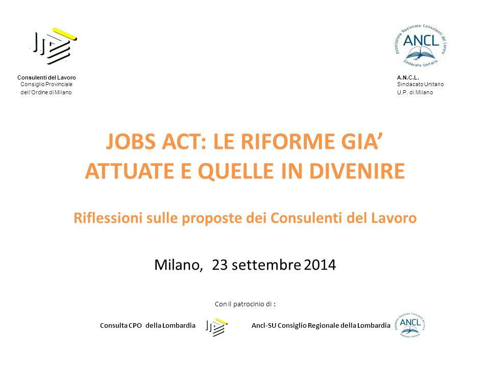 JOBS ACT: LE RIFORME GIA' ATTUATE E QUELLE IN DIVENIRE