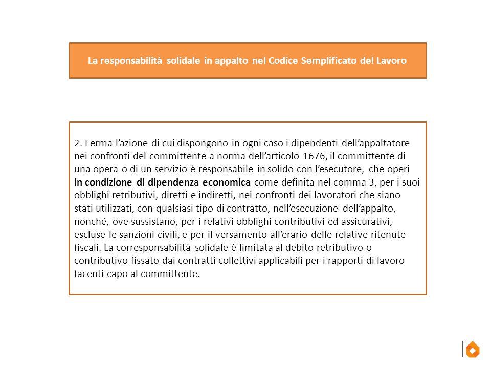 La responsabilità solidale in appalto nel Codice Semplificato del Lavoro
