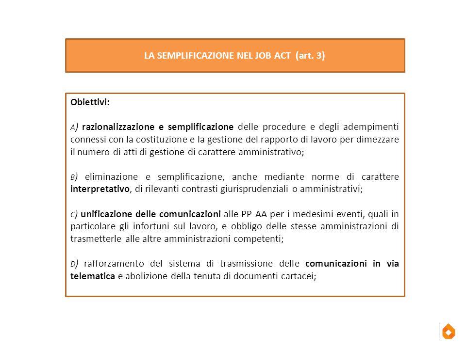 LA SEMPLIFICAZIONE NEL JOB ACT (art. 3)