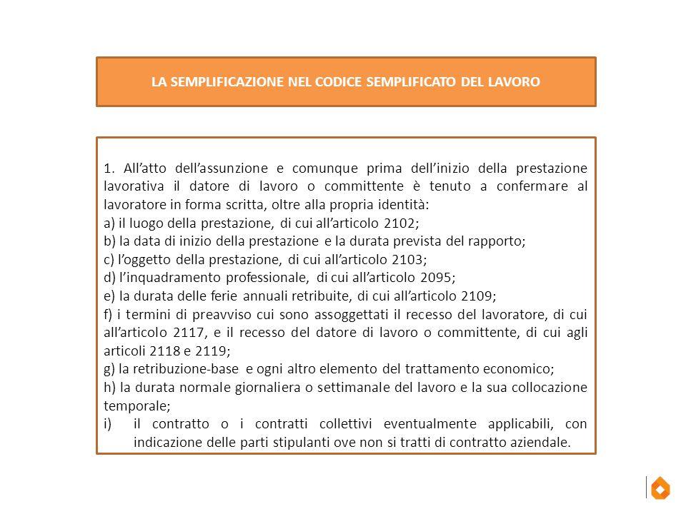 LA SEMPLIFICAZIONE NEL CODICE SEMPLIFICATO DEL LAVORO