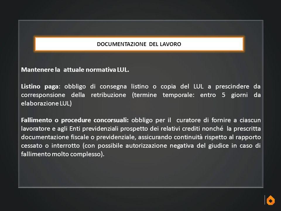 DOCUMENTAZIONE DEL LAVORO