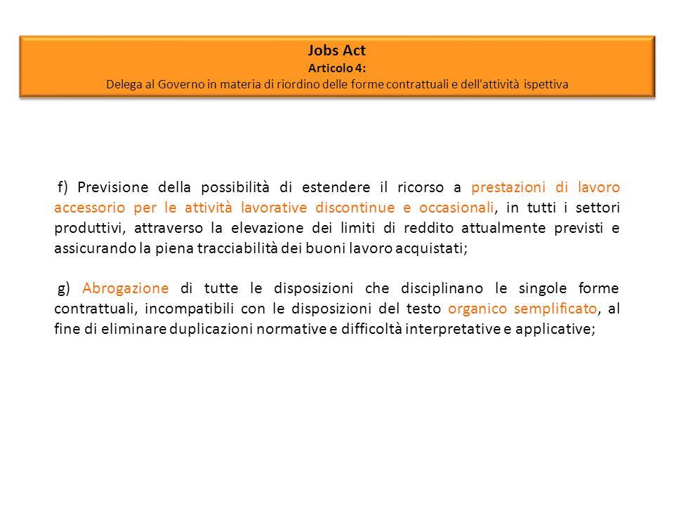 Jobs Act Articolo 4: Delega al Governo in materia di riordino delle forme contrattuali e dell attività ispettiva.
