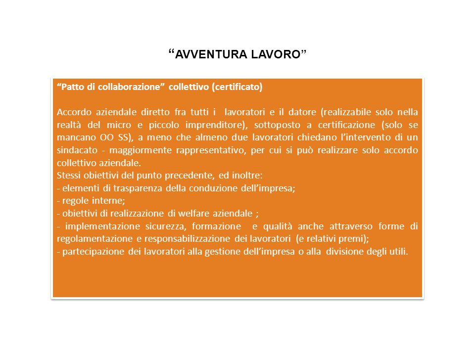 AVVENTURA LAVORO Patto di collaborazione collettivo (certificato)