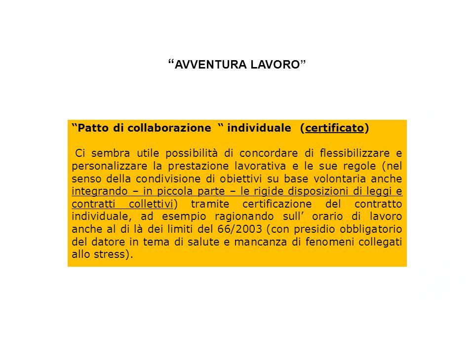 AVVENTURA LAVORO Patto di collaborazione individuale (certificato)