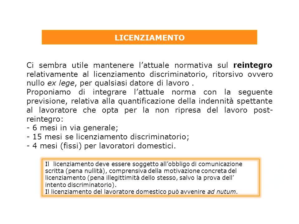 - 15 mesi se licenziamento discriminatorio;
