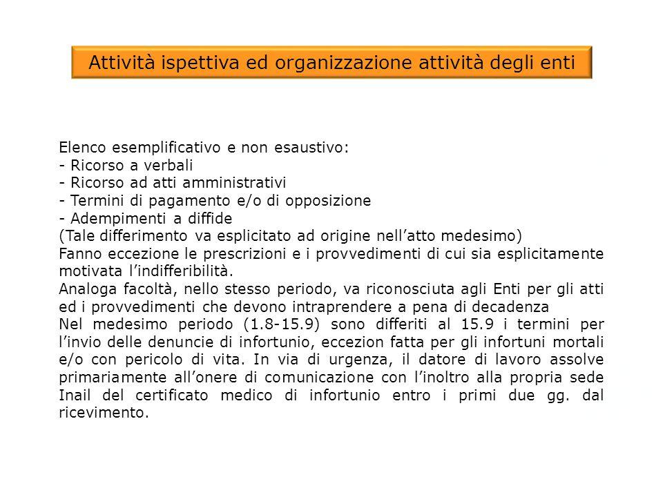 Attività ispettiva ed organizzazione attività degli enti