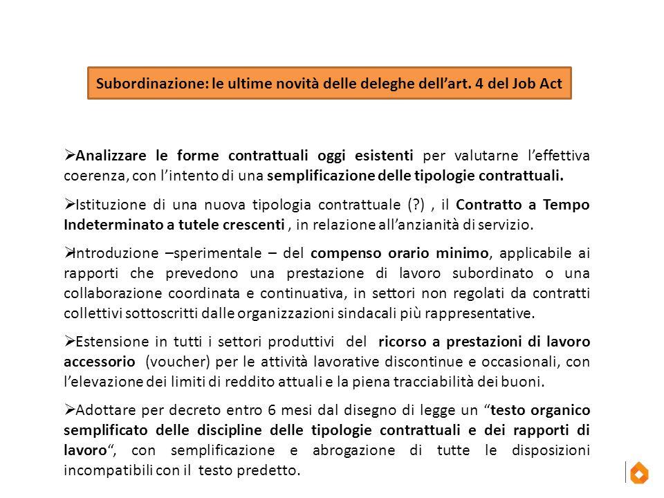 Subordinazione: le ultime novità delle deleghe dell'art. 4 del Job Act