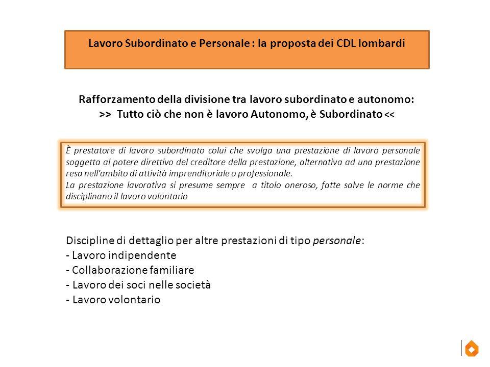 Lavoro Subordinato e Personale : la proposta dei CDL lombardi