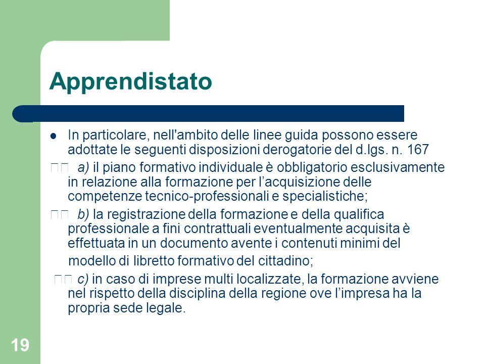 Apprendistato In particolare, nell ambito delle linee guida possono essere adottate le seguenti disposizioni derogatorie del d.lgs. n. 167.