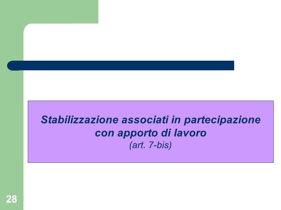 Stabilizzazione associati in partecipazione