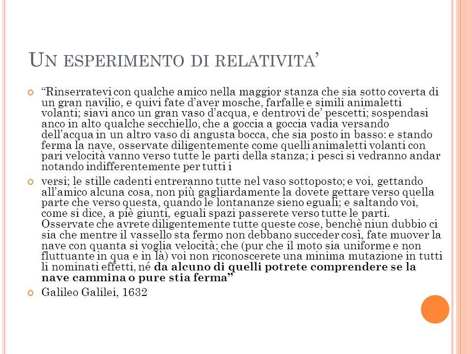 Un esperimento di relativita'