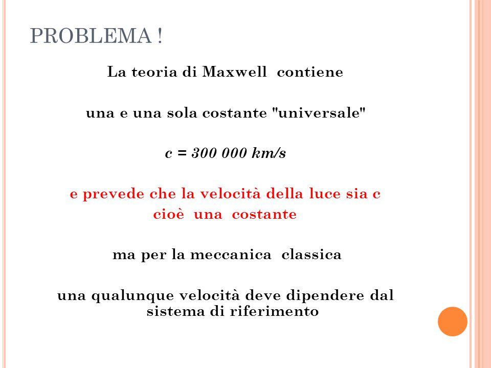 PROBLEMA ! La teoria di Maxwell contiene