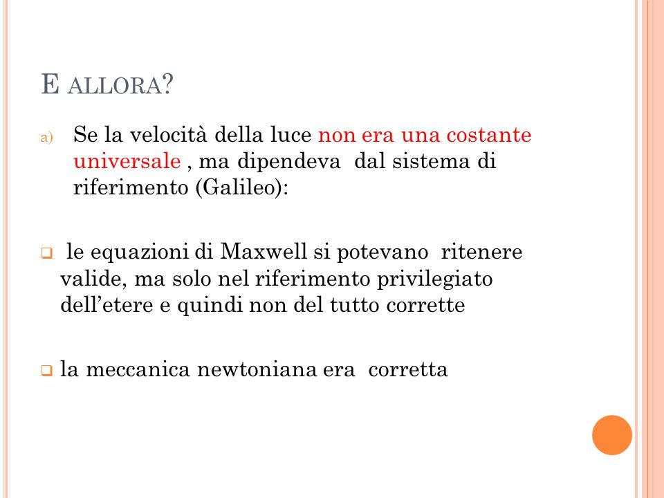 E allora Se la velocità della luce non era una costante universale , ma dipendeva dal sistema di riferimento (Galileo):