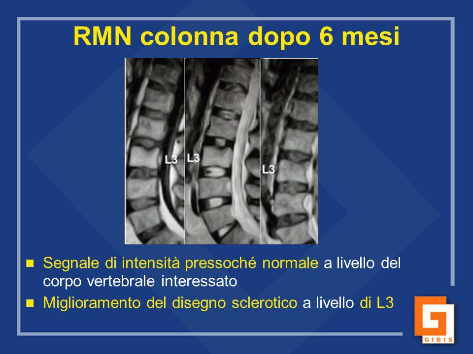 RMN colonna dopo 6 mesi Segnale di intensità pressoché normale a livello del corpo vertebrale interessato.