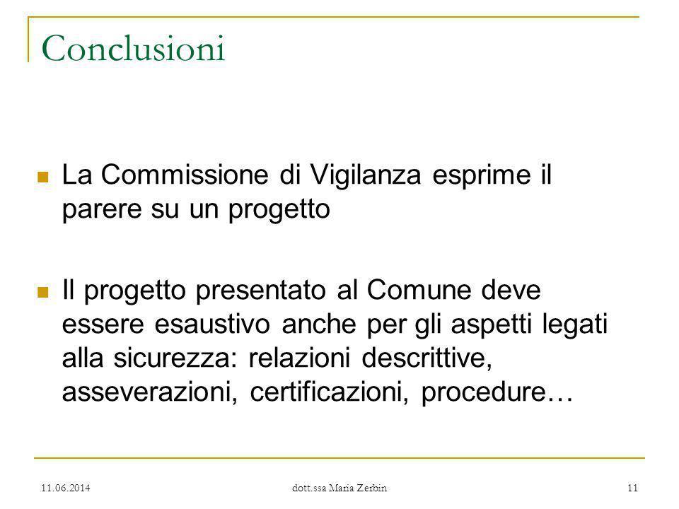 Conclusioni La Commissione di Vigilanza esprime il parere su un progetto.