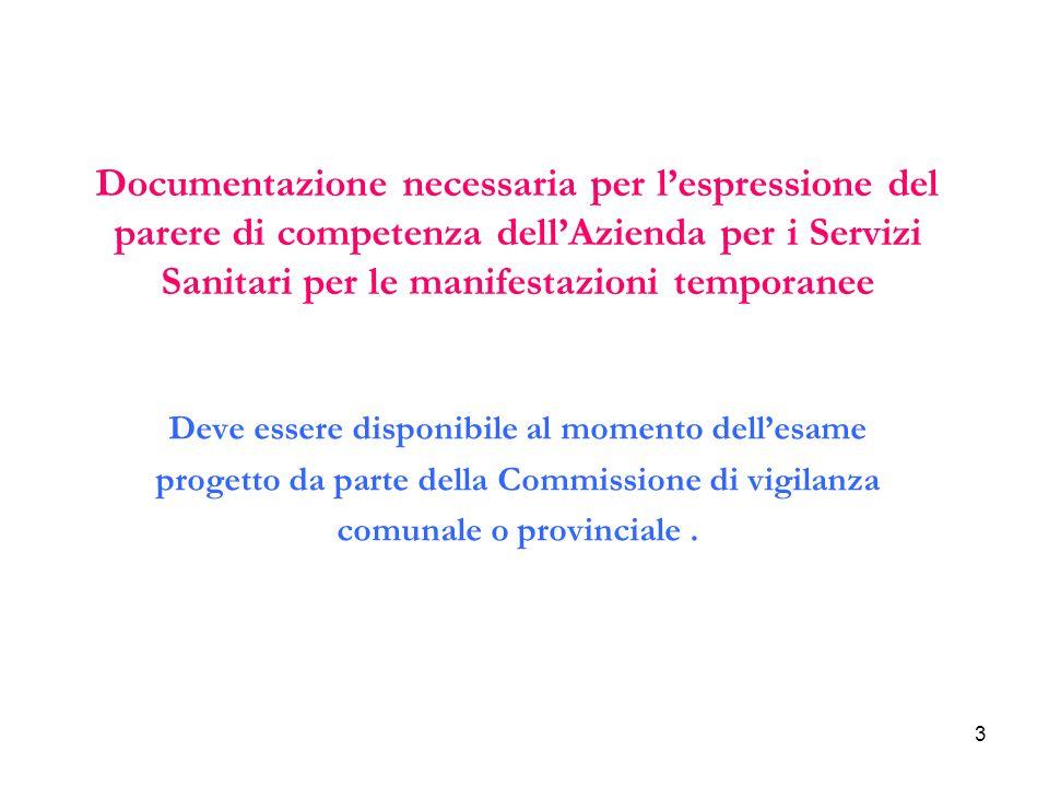 Documentazione necessaria per l'espressione del parere di competenza dell'Azienda per i Servizi Sanitari per le manifestazioni temporanee
