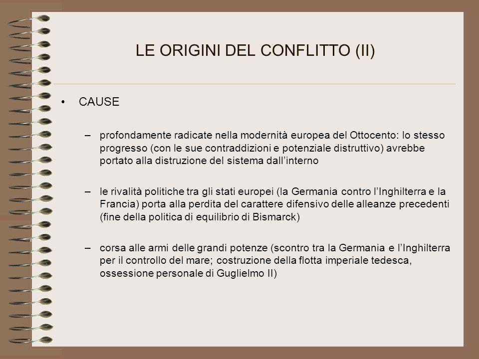 LE ORIGINI DEL CONFLITTO (II)