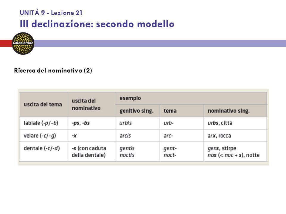 UNITÀ 9 - Lezione 21 III declinazione: secondo modello