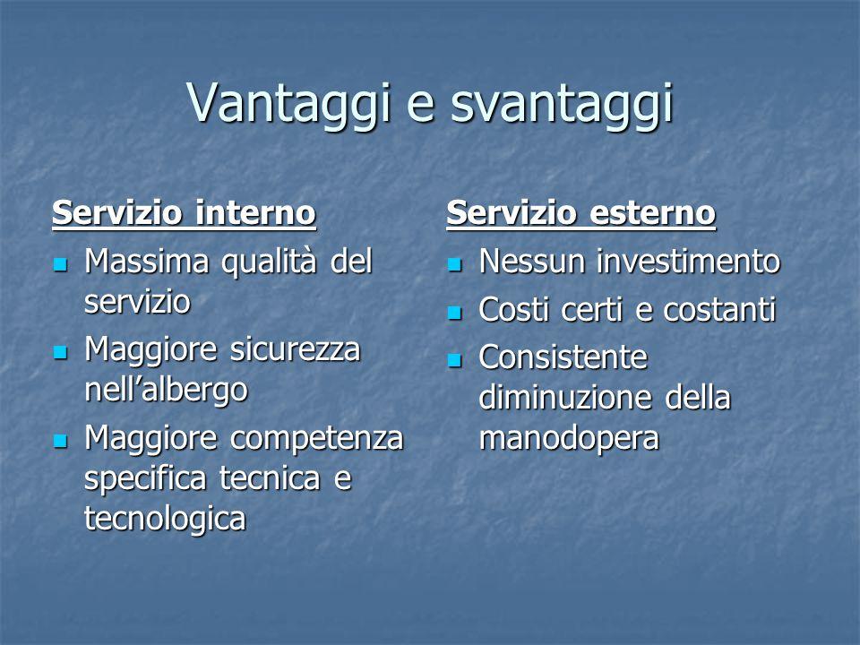 Vantaggi e svantaggi Servizio interno Massima qualità del servizio