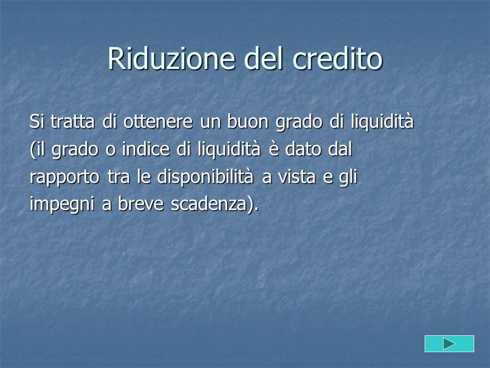 Riduzione del credito Si tratta di ottenere un buon grado di liquidità