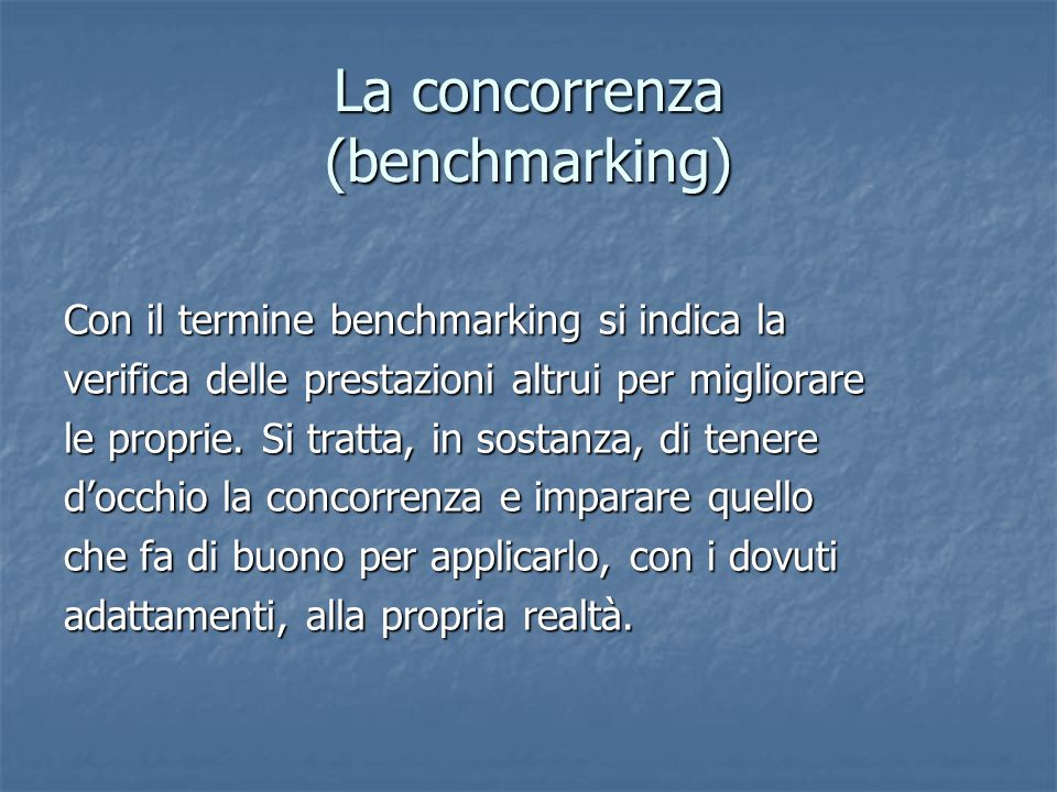 La concorrenza (benchmarking)