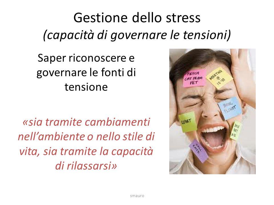 Gestione dello stress (capacità di governare le tensioni)