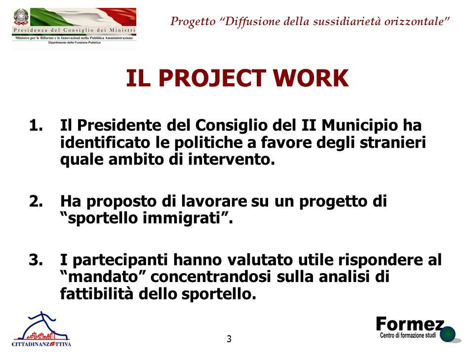 IL PROJECT WORK Il Presidente del Consiglio del II Municipio ha identificato le politiche a favore degli stranieri quale ambito di intervento.