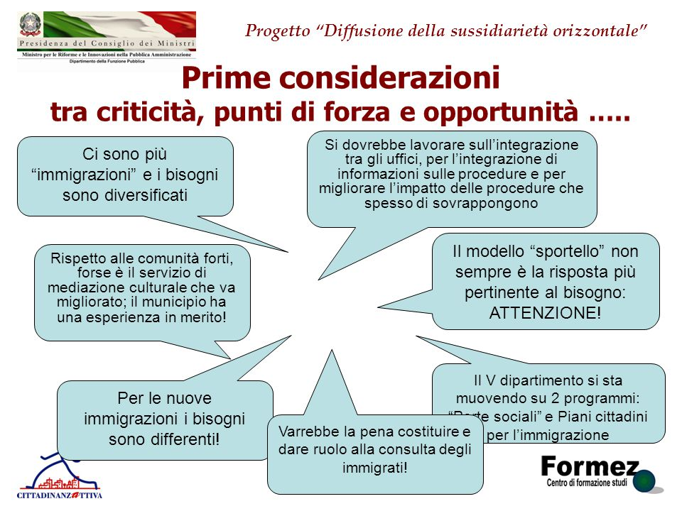 Prime considerazioni tra criticità, punti di forza e opportunità …..
