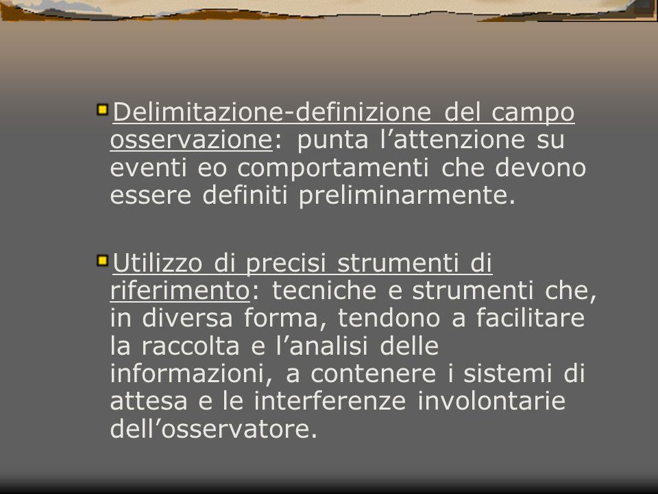 Delimitazione-definizione del campo osservazione: punta l'attenzione su eventi eo comportamenti che devono essere definiti preliminarmente.
